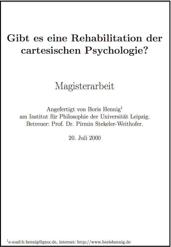 Boris Hennig, Cartesische Psychologie